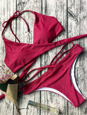 Bikinis Halter Bandage Doublé à Col Cache Cœur - Rouge S