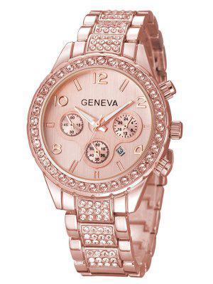 Rhinestoned Quartz Wrist Watch
