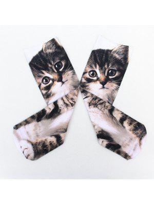Calcetines Diseño Divertido Impresión Pequeño Gato 3D