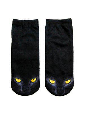 Verrückte Knöchel Socken mit 3D Schwarzem Katzedruck