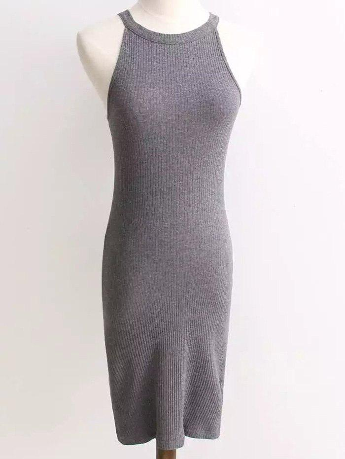 Ribbed Sleeveless Knitted Bodycon Dress 205511602