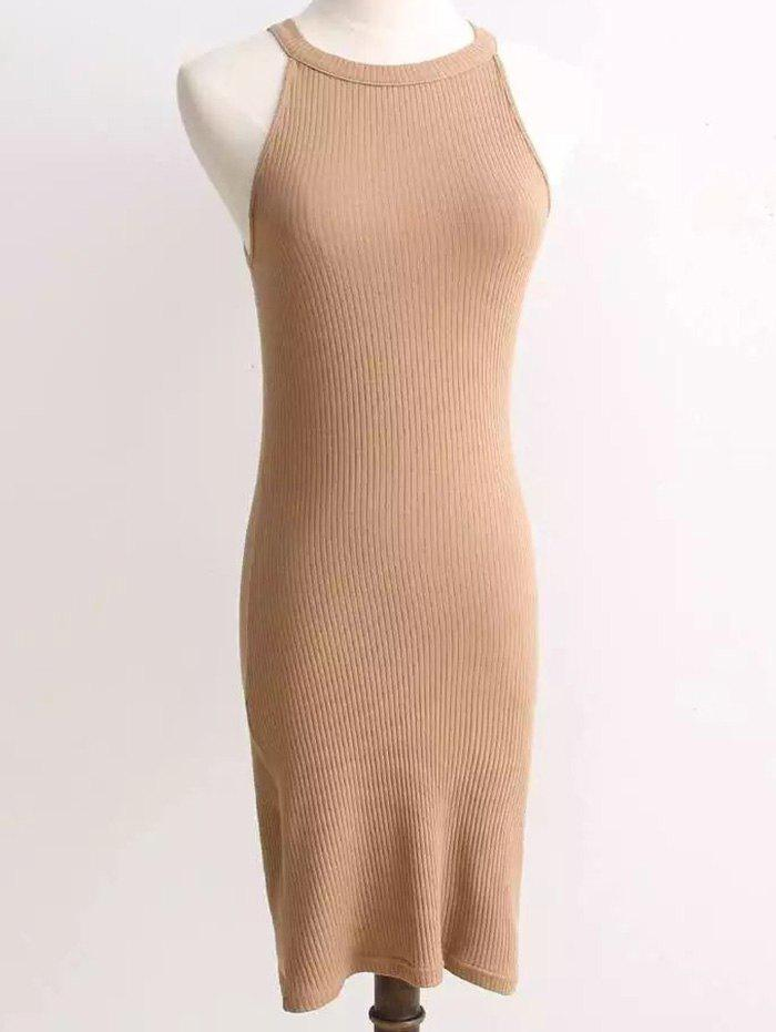 Ribbed Sleeveless Knitted Bodycon Dress 205511604