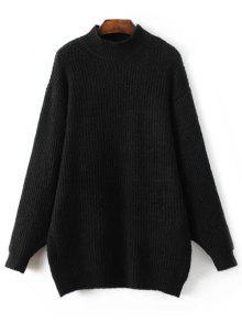 Buy Funnel Neck Oversized Sweater Dress - BLACK L