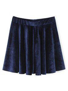 Velvet A Line Mini Skirt - Purplish Blue S