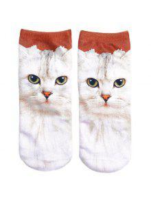 3D القط مطبوعة الجوارب المجنونة - أبيض