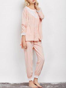 Striped Swing Top And Pants Pajama - Apricot Xl
