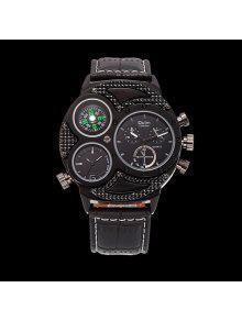 Reloj De Esfera Grande Con La Venda De Reloj De Cuero De La PU - Negro