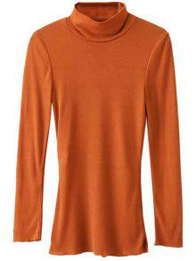 Funnel Neck Fitted Side Slit T-Shirt - Orange L