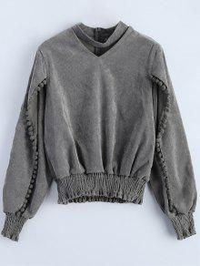 Oversized Choker Sweatshirt - Gray L