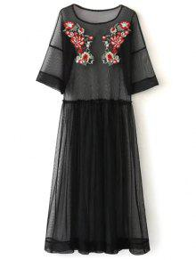 See Thru Tulle Embroidered Maxi Dress - Black L