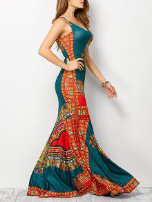 فستان سترة يوهيمي طباعة قبلية - البحيرة الزرقاء S