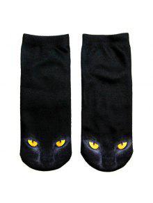 جوارب سوداء بطبعة قط ثري دي - أسود