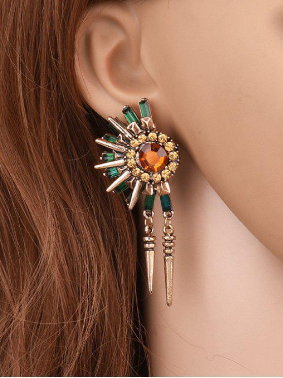trendy Rhinestone Floral Rivet Tassel Earrings - GOLDEN