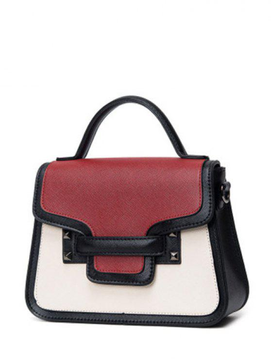 shops Chains Color Block Handbag - RED