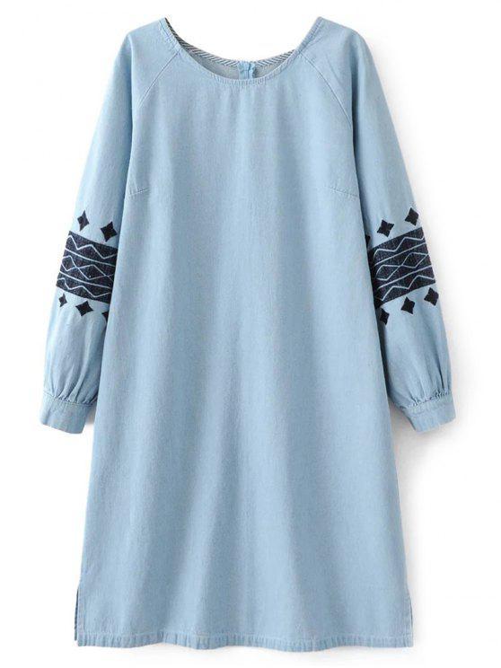 Vestido bordado del dril de algodón - Azul Claro L