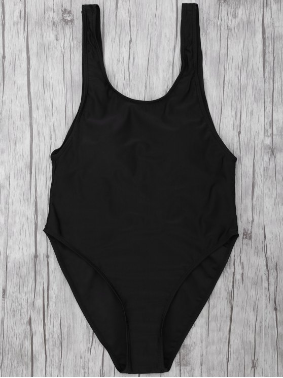affordable One Piece Backless Swimsuit - BLACK S