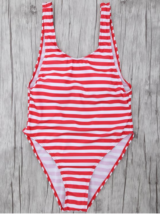 fancy Stripe Drop Armhole Swimsuit - RED WITH WHITE S