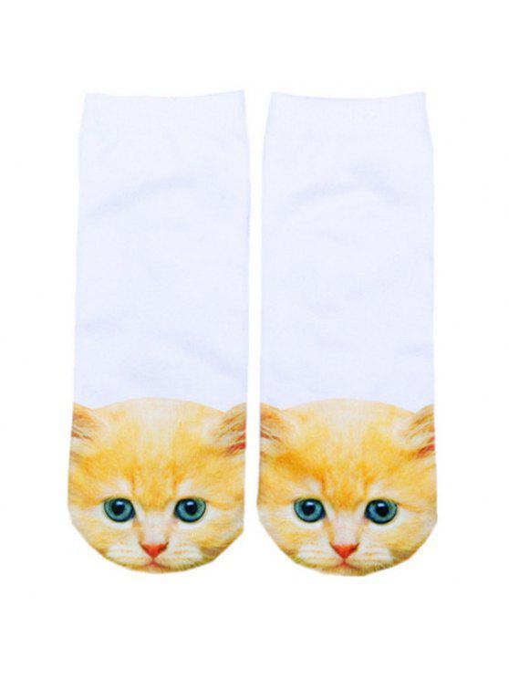 latest 3D Ginger Cat Head Printed Crazy Socks - WHITE