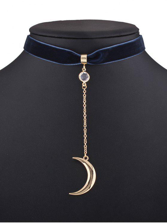 shops Moon Pendant Velvet Choker - PURPLISH BLUE