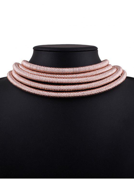 Collar Hueco Lazo Trenzado - Rosa