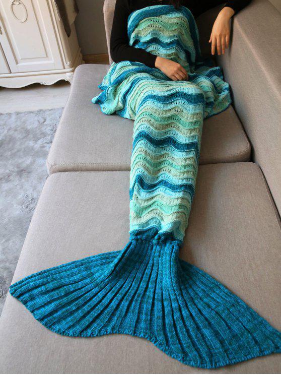 موجة مخطط الكروشيه حك حورية البحر غطاء رمي - مزيج ملون