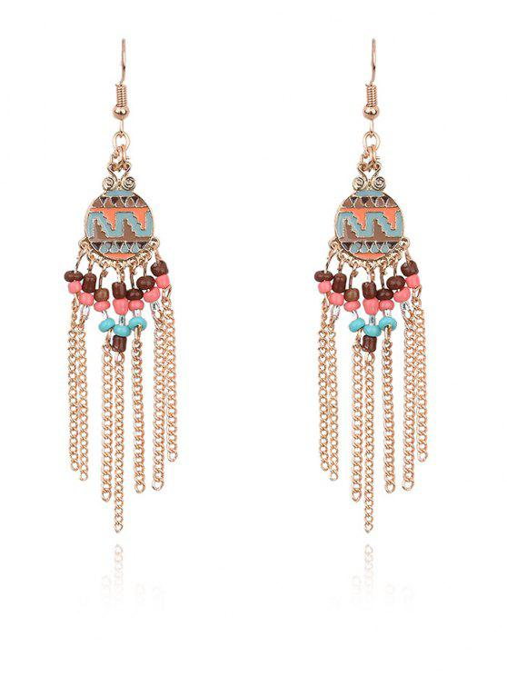 ladies Beads Chain Tassel Drop Earrings - GOLDEN