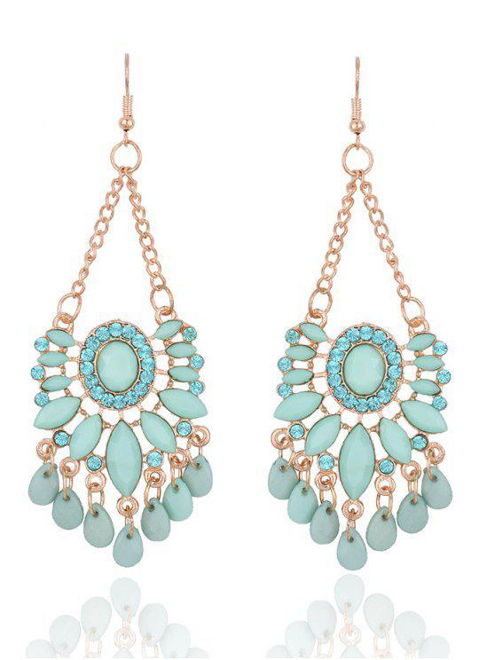 Boucles d'oreilles à pendentif floral de diamants artificieux - Vert Clair