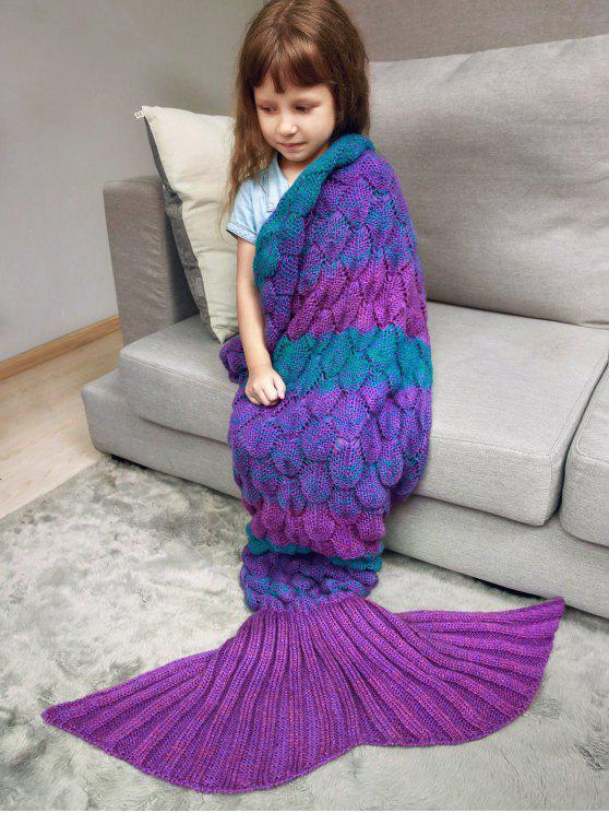 Couverture a couleurs en forme de queue de sirène a écaille de poisson tricotée pour enfants - Violet Rose