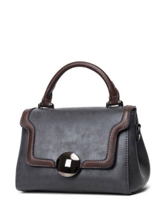 chic Color Panel PU Leather Handbag - GRAY