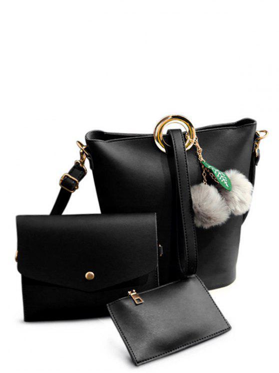 sale Pompon Metal Ring Crossbody Bag - BLACK