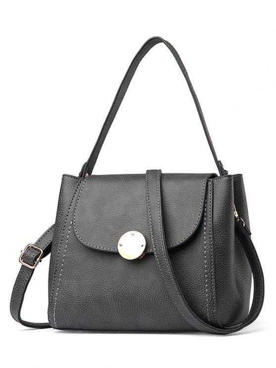 ladies Flap Metal Embellished Shoulder Bag - GRAY