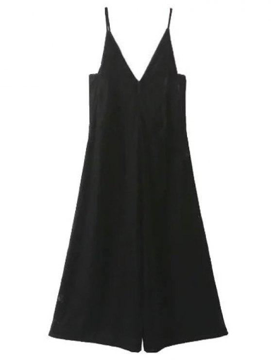 trendy Cropped Wide Leg Velvet Jumpsuit - BLACK L