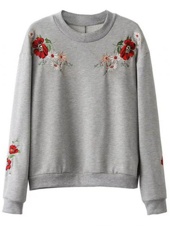 chic Floral Embroidered Oversized Sweatshirt - GRAY L