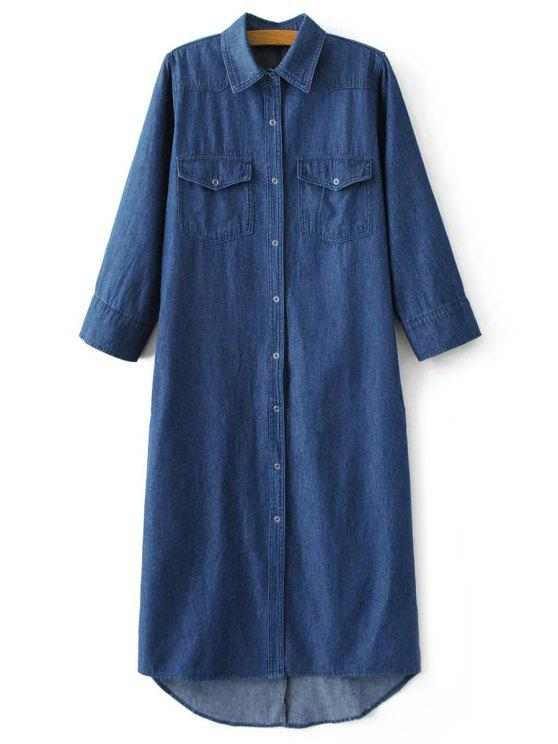women Denim Midi Shirt Dress - DENIM BLUE L