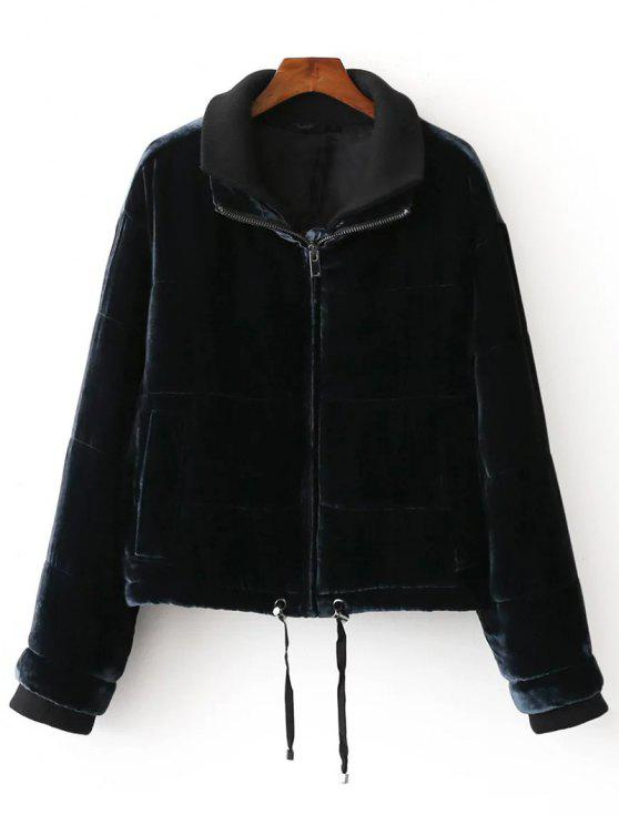 best Layered Collar Velvet Winter Jacket - BLACK L
