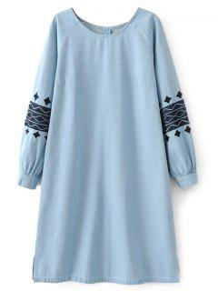 Denim Embroidered Tunic Dress - Light Blue M