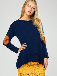 Elbow Patch Asymmetric Pullover Sweater - Purplish Blue M