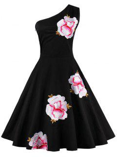 One Shoulder Embroidered Cute Swing Skater Dress - Black 2xl