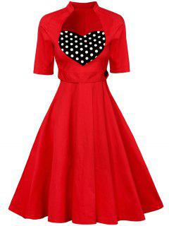 Sweetheart Neck Vintage Swing Flare Kleid - Rot 2xl