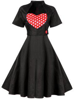 Sweetheart Neck Vintage Swing Flare Dress - Black 2xl