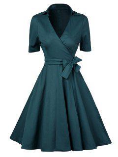 Robe Trapèze Cache-Coeur Vintage à Col Plongeant - Vert Foncé Xl