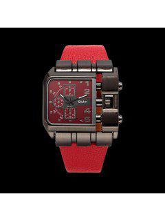 Vintage Artificial Leather Watchband Quartz Watch - Red