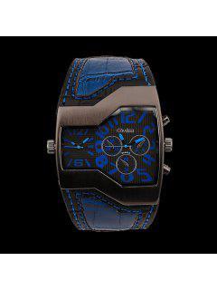 Vintage PU Leather Wrist Watch - Blue