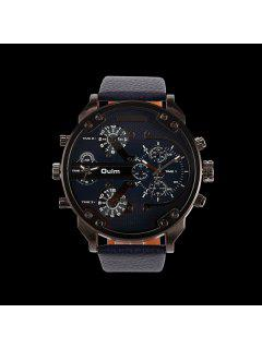 Montre Quartz A Grand Cadran Plat  - Bleu