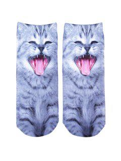 3D Yawn Cat Printed Crazy Ankle Socks - Gray