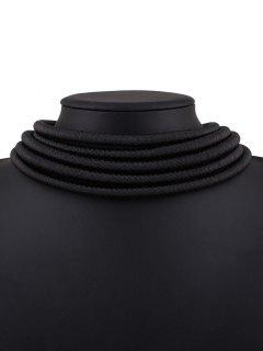 Hollow Braided Rope Necklace - Black