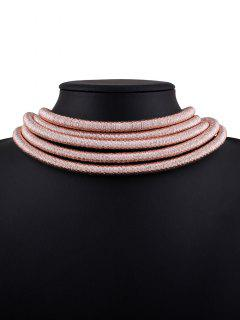 Hollow Braided Rope Necklace - Pink