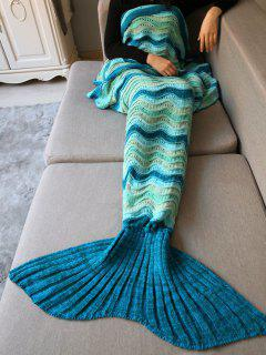 Wave Striped Crochet Knit Mermaid Blanket Throw