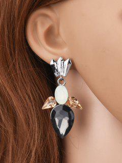 Faux Gemtone Water Drop Earrings - Black
