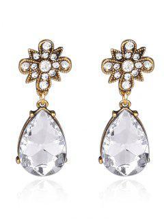 Rhinestone Water Drop Floral Earrings - White